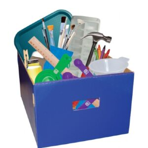 Blue box full of craft supplies
